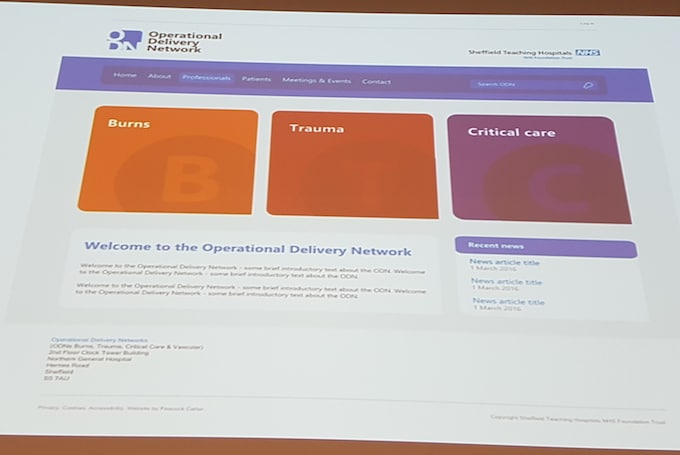 Prototype NHS Operational Delivery Networks home page