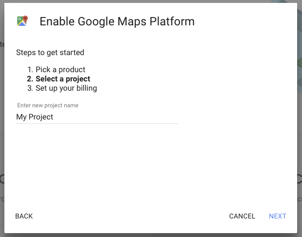 Name your Google Maps project