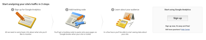 Google Analytics sign up for an account