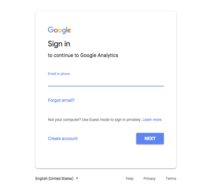 Sign in to continue to Google Analytics